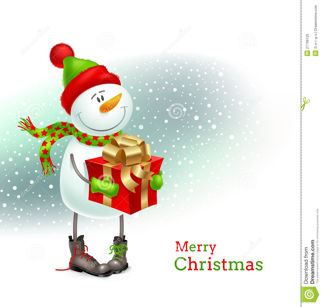 Smiling Snowman With Christmas Gift Royalty Free Stock Photo - Image: 27799125