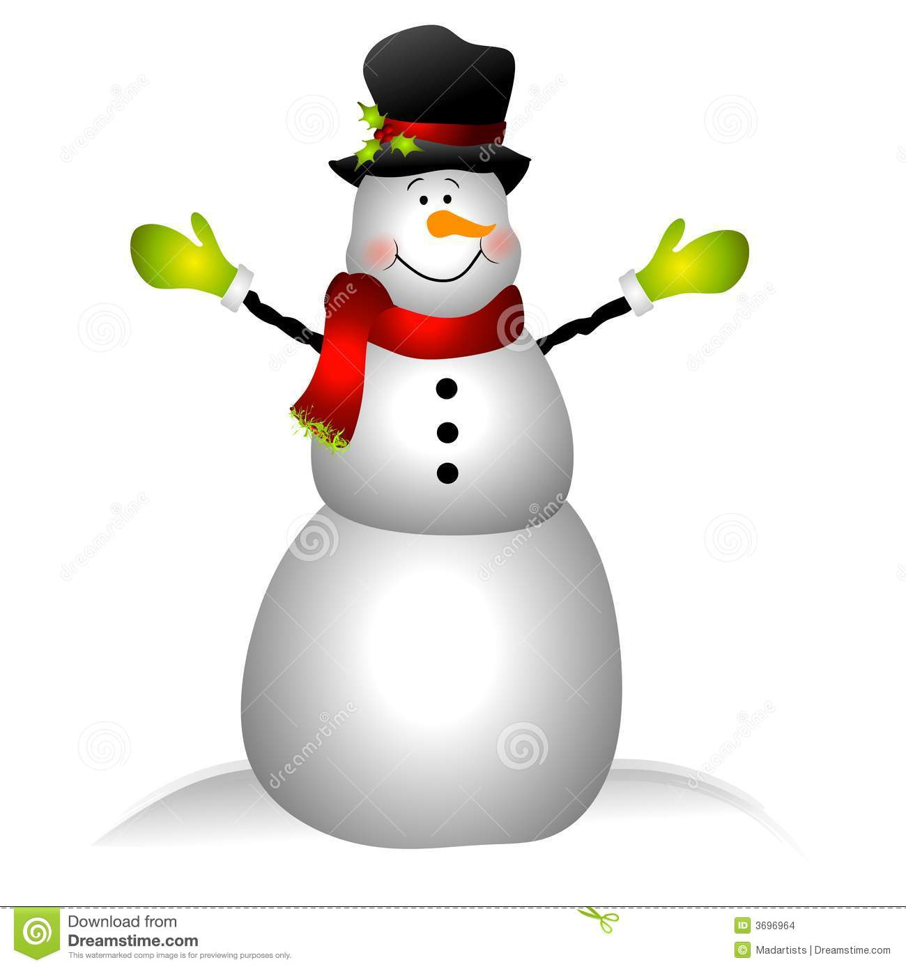 clip art illustration featuring a snowman dressed in hat, scarf ...
