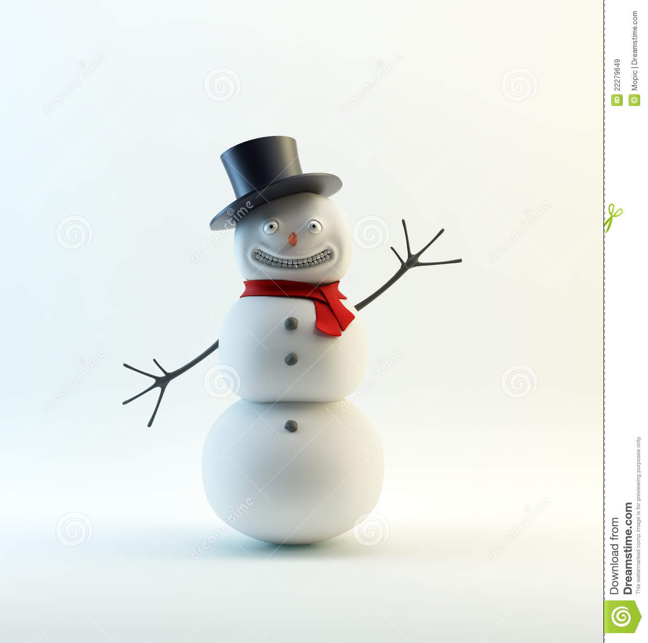 smiling snowman with a red scarf stock illustration