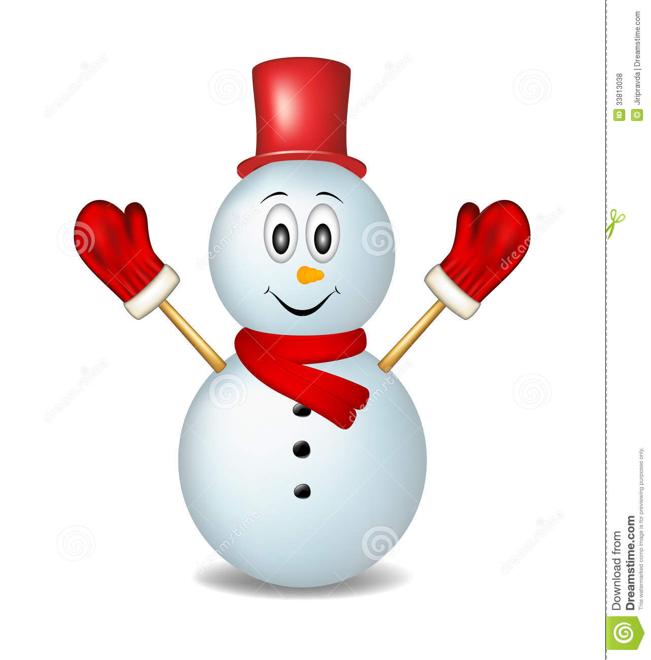 Smiling Snowman Wearing Mittens, Hat And Scarf Royalty Free Stock ...