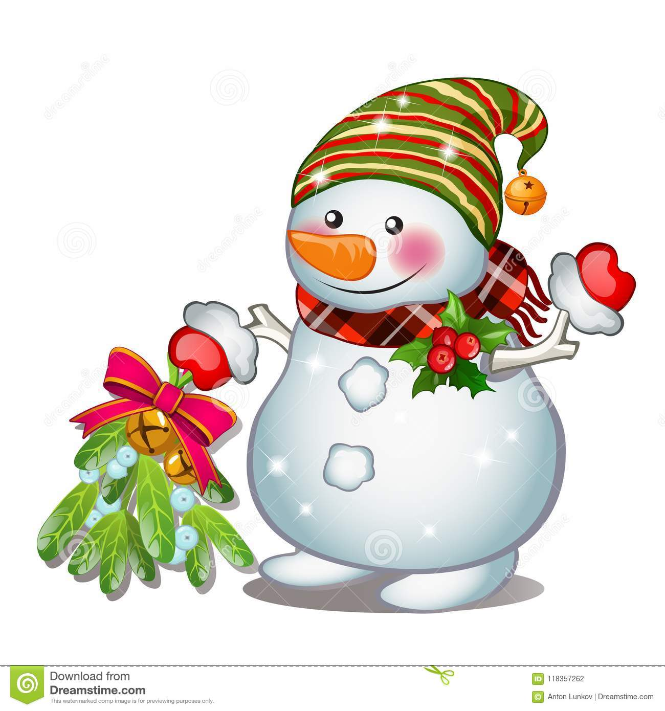 a smiling snowman wearing a striped cap sketch for greeting card