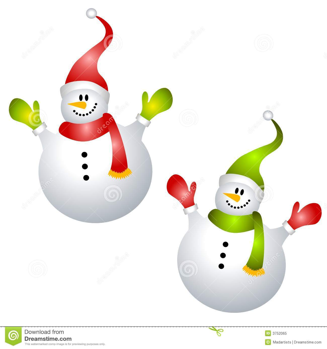 clip art illustration featuring snowmen dressed in hat, scarf, mittens ...
