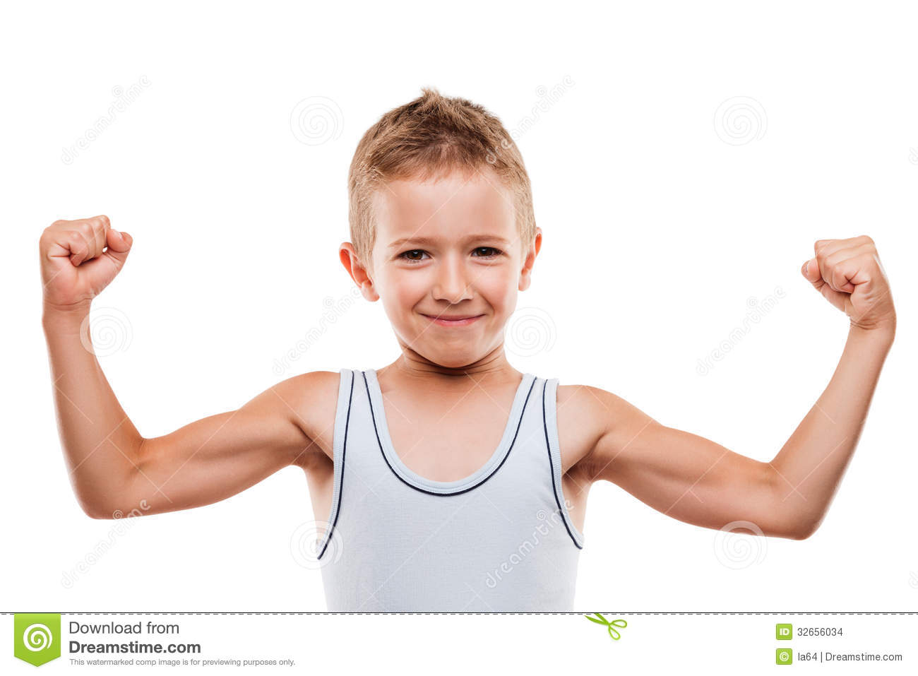 Smiling Sport Child Boy Showing Hand Biceps Muscles Strength Stock ...