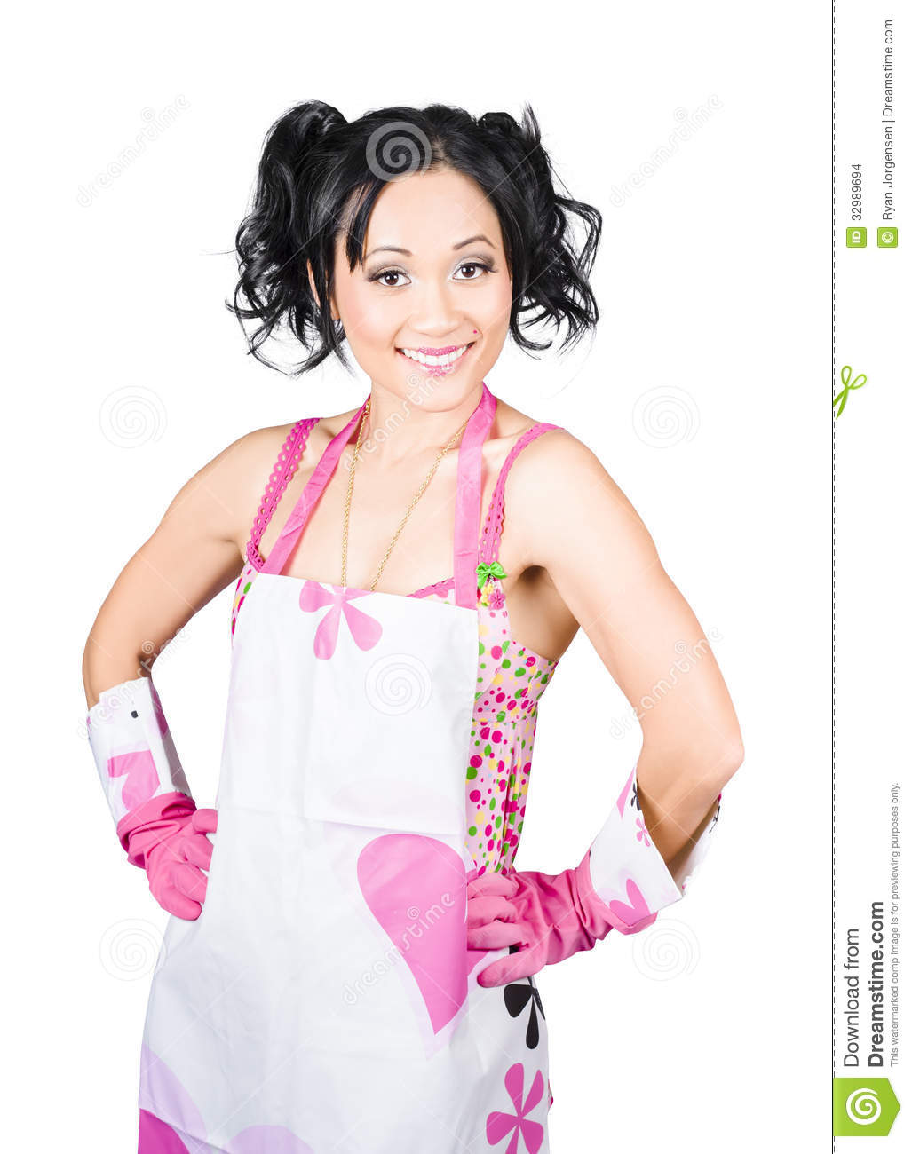 Smiling Spring Cleaning Woman Isolated Housework Stock