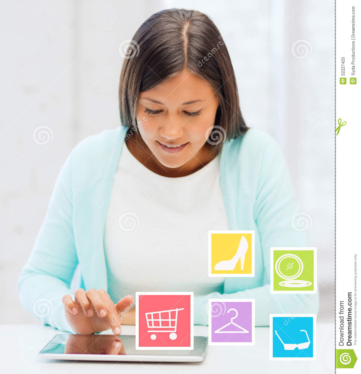 Smiling student girl with tablet pc blogging