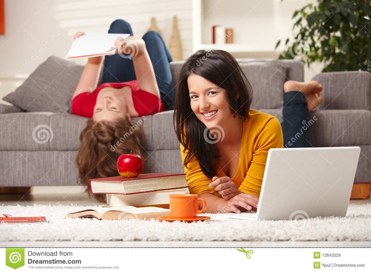 Smiling Students Learning At Home Stock Image Image