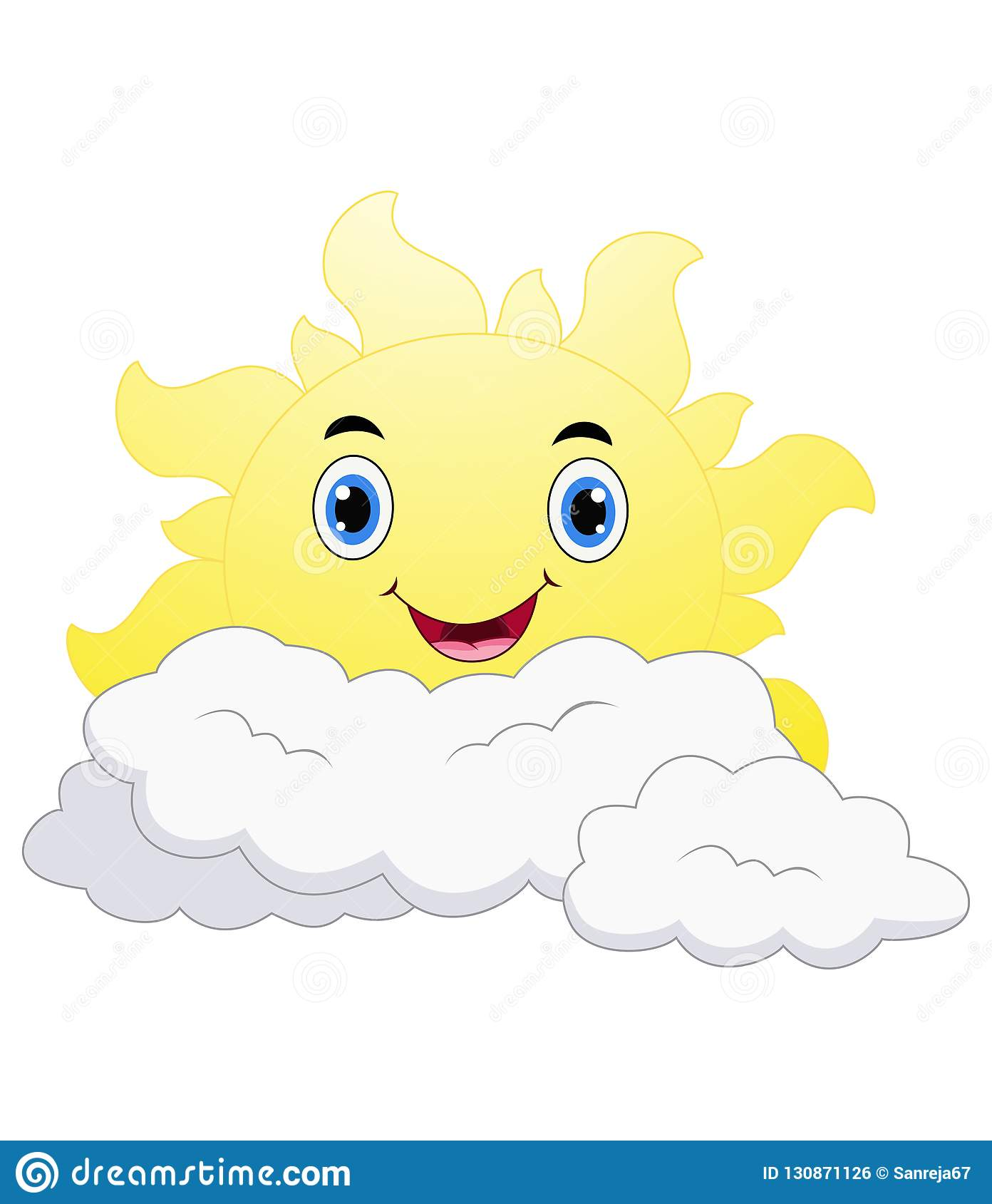 99b58744e6ad Illustration of Smiling Sun Cartoon Emoji Face Character With Happy  Expression