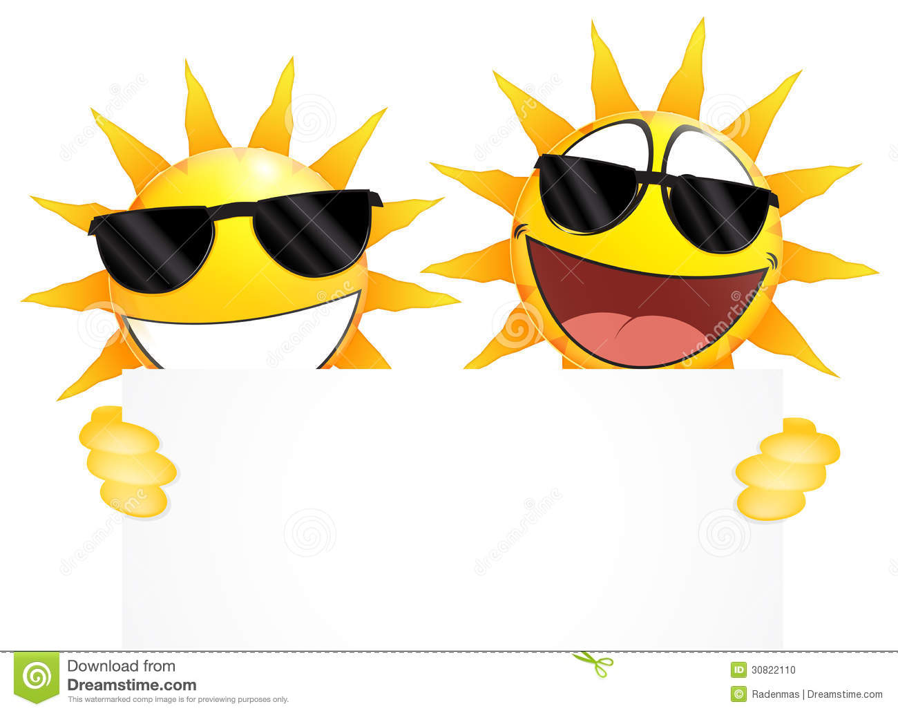 Smiling Sun Emoticon Holding A Blank Sign Stock Vector