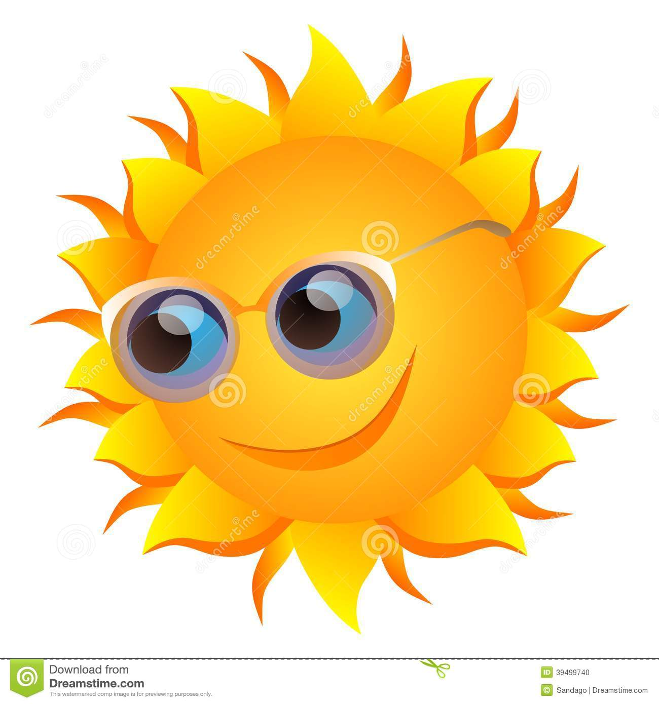 Smiling sun with glasses