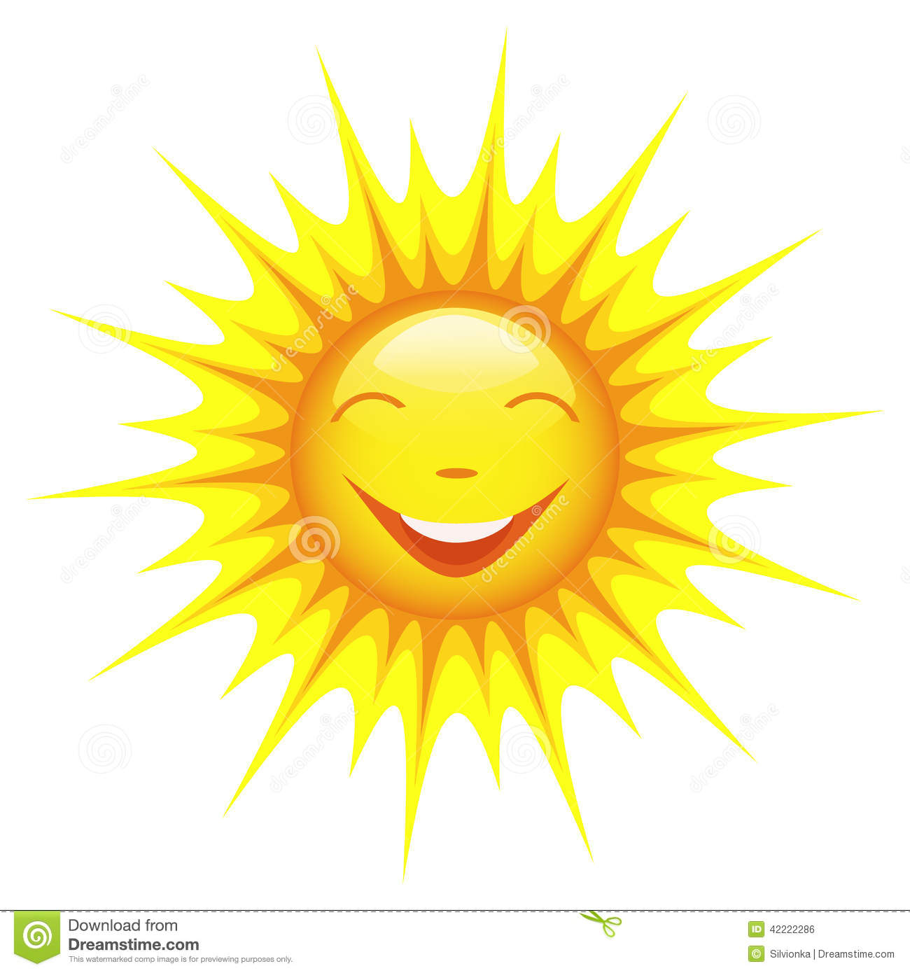 smiling sun isolated on white background stock vector