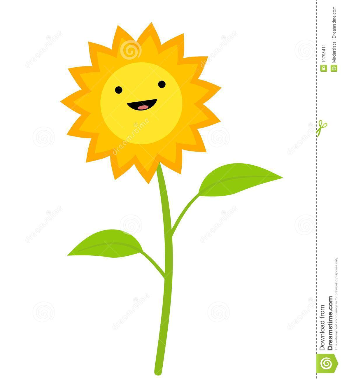 Smiling Sunflower Clip Art Stock Image - Image: 10795411