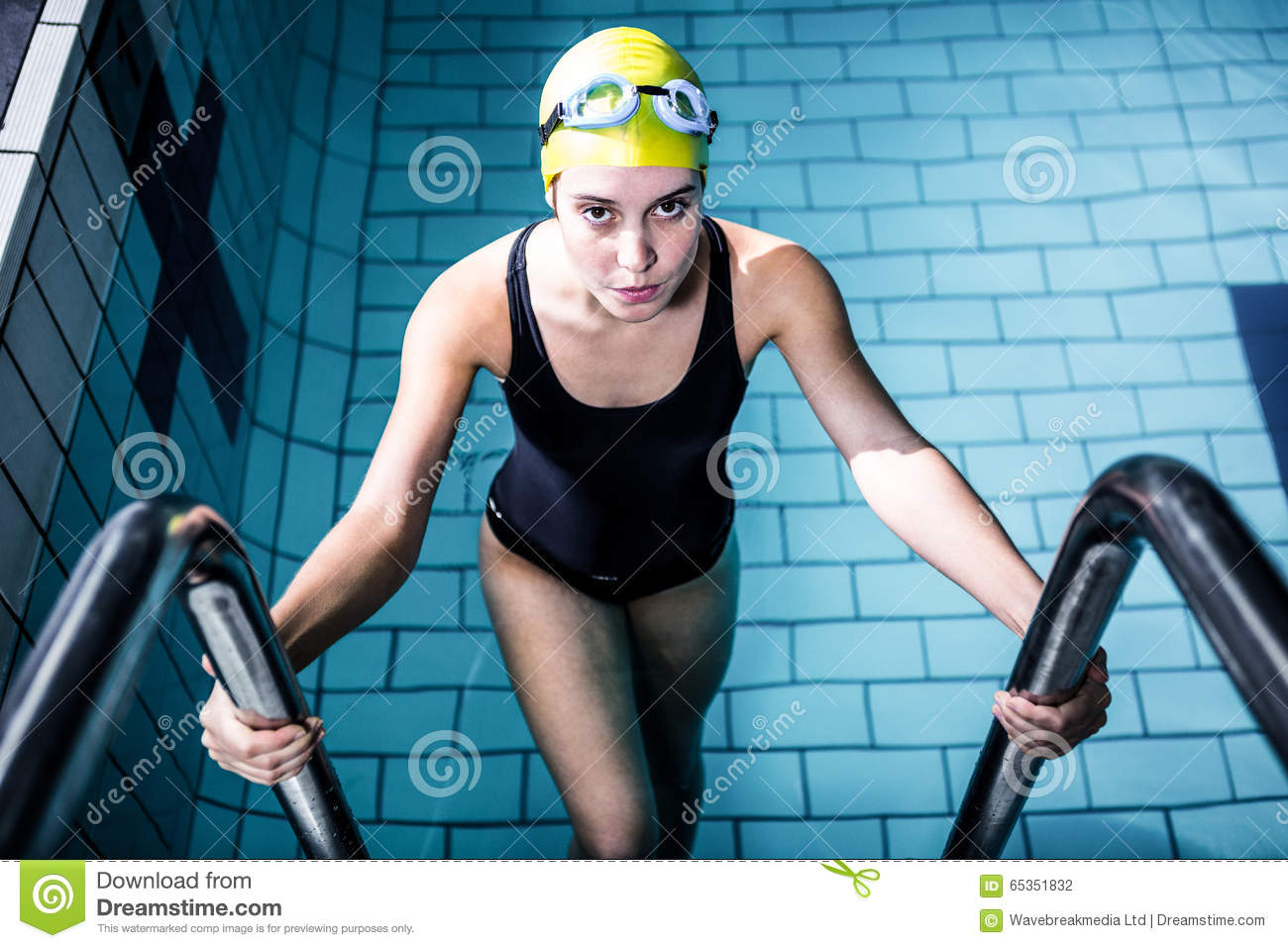 Smiling Swimmer Woman Getting Out Of The Swimming Pool Stock Photo Image 65351832