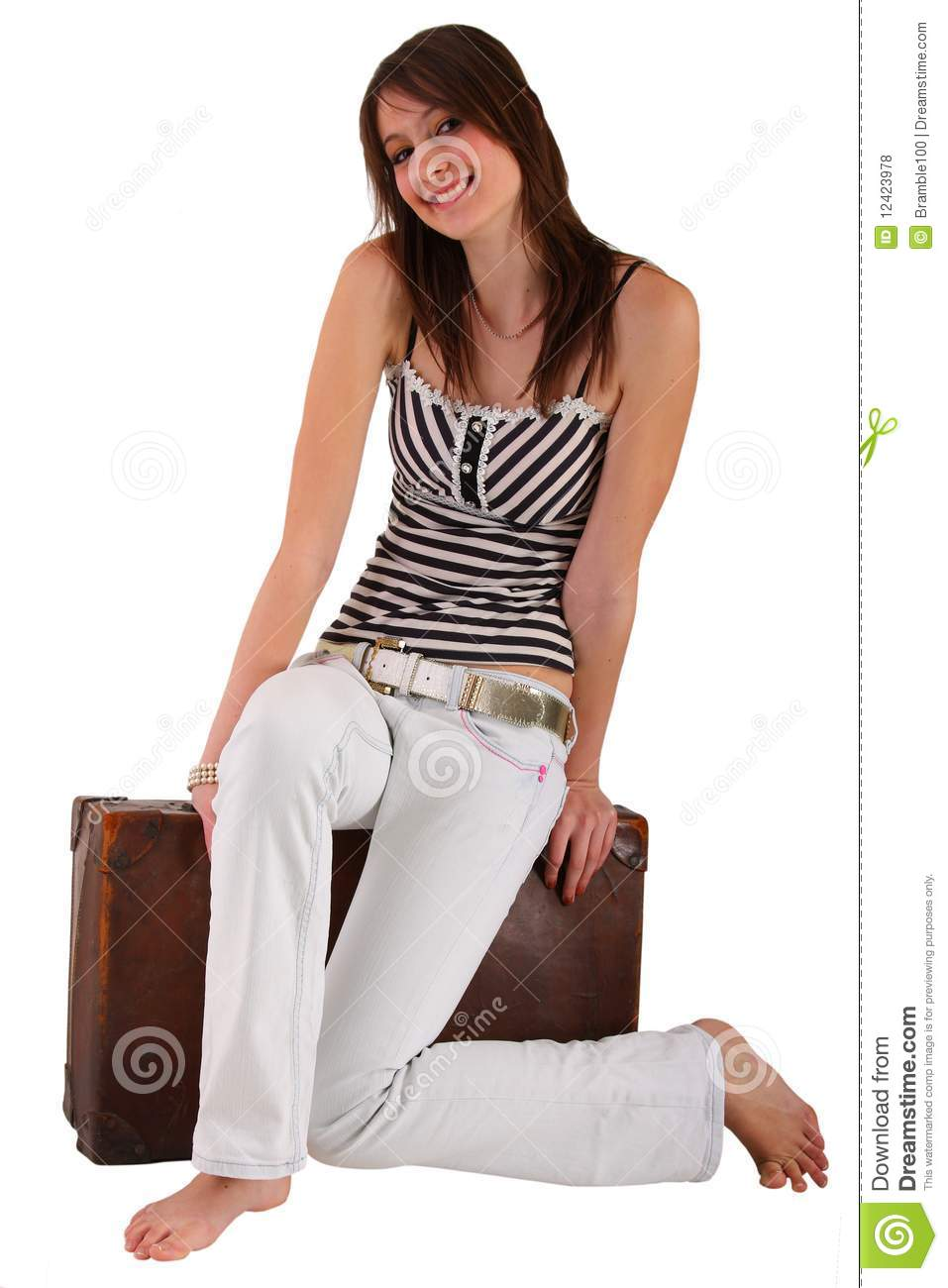 smiling teenage girl with old beaten up luggage royalty. Black Bedroom Furniture Sets. Home Design Ideas