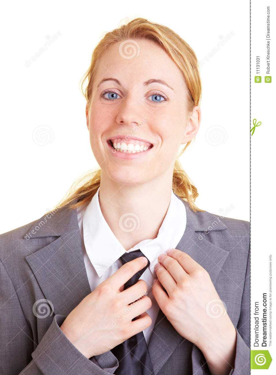 Smiling with a tie