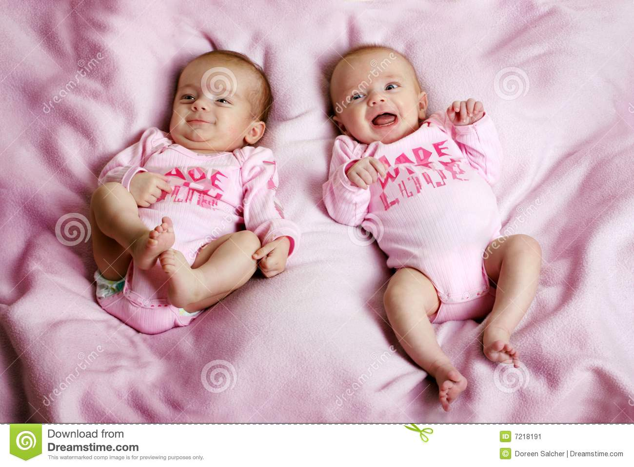 Smiling Twins On A Blanket Stock Image Image Of Eyes 7218191