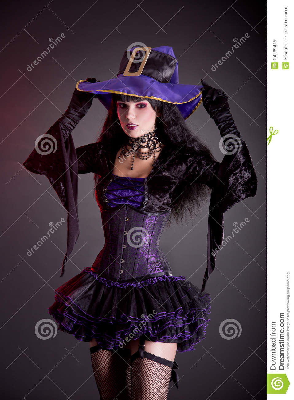 Smiling Witch In Purple And Black Gothic Halloween Costume Royalty ...