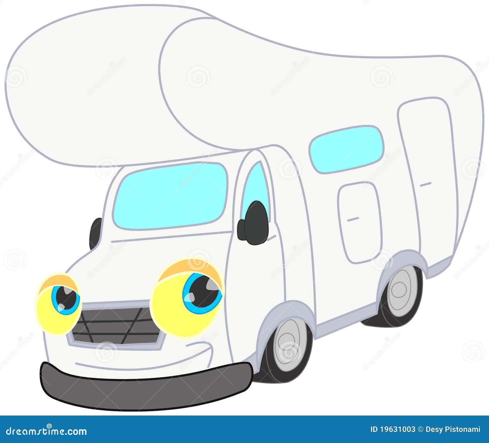 Smiling withe camper stock illustration. Illustration of transport