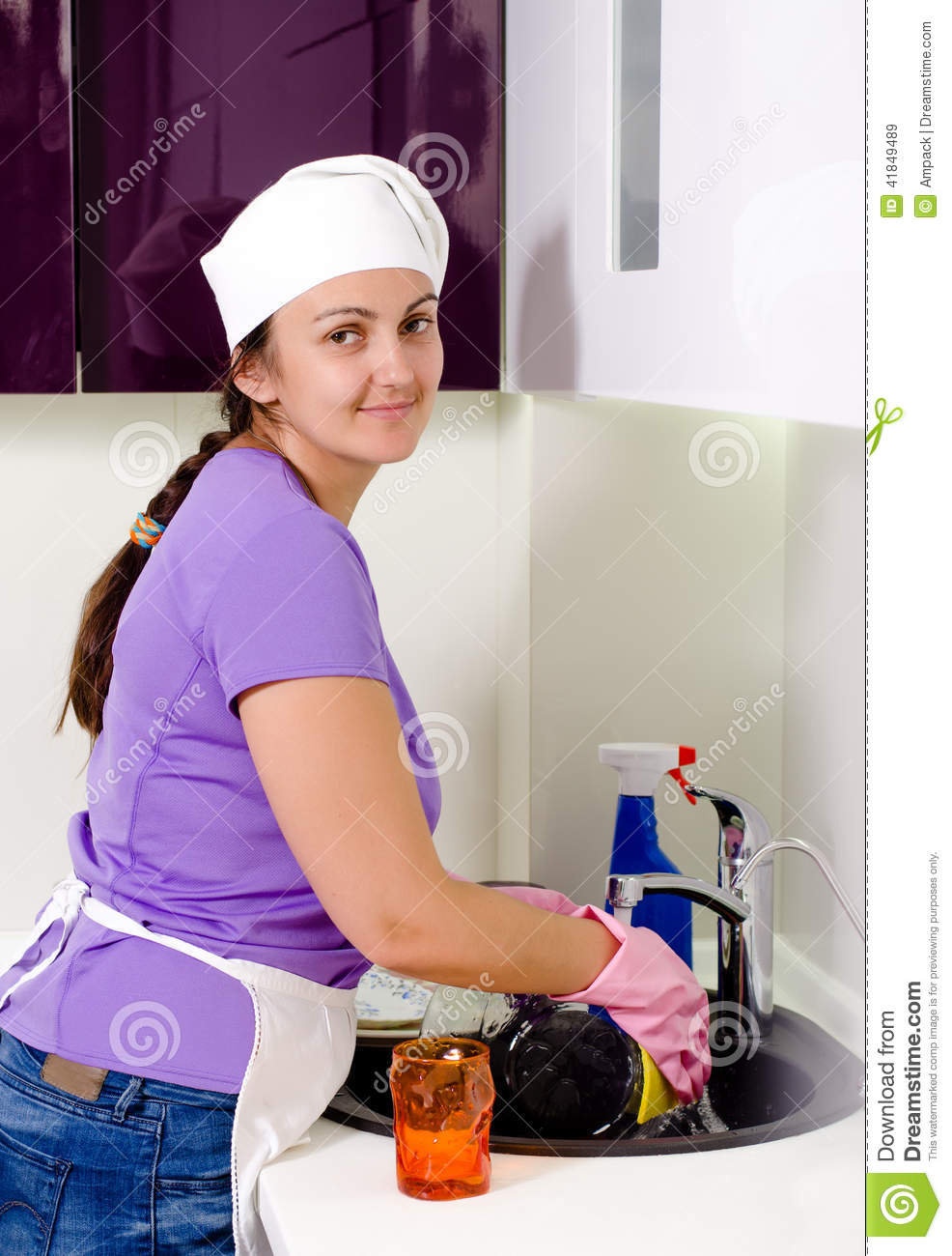 Smiling Woman Cook Cleaning Dishes Stock Photo - Image ...