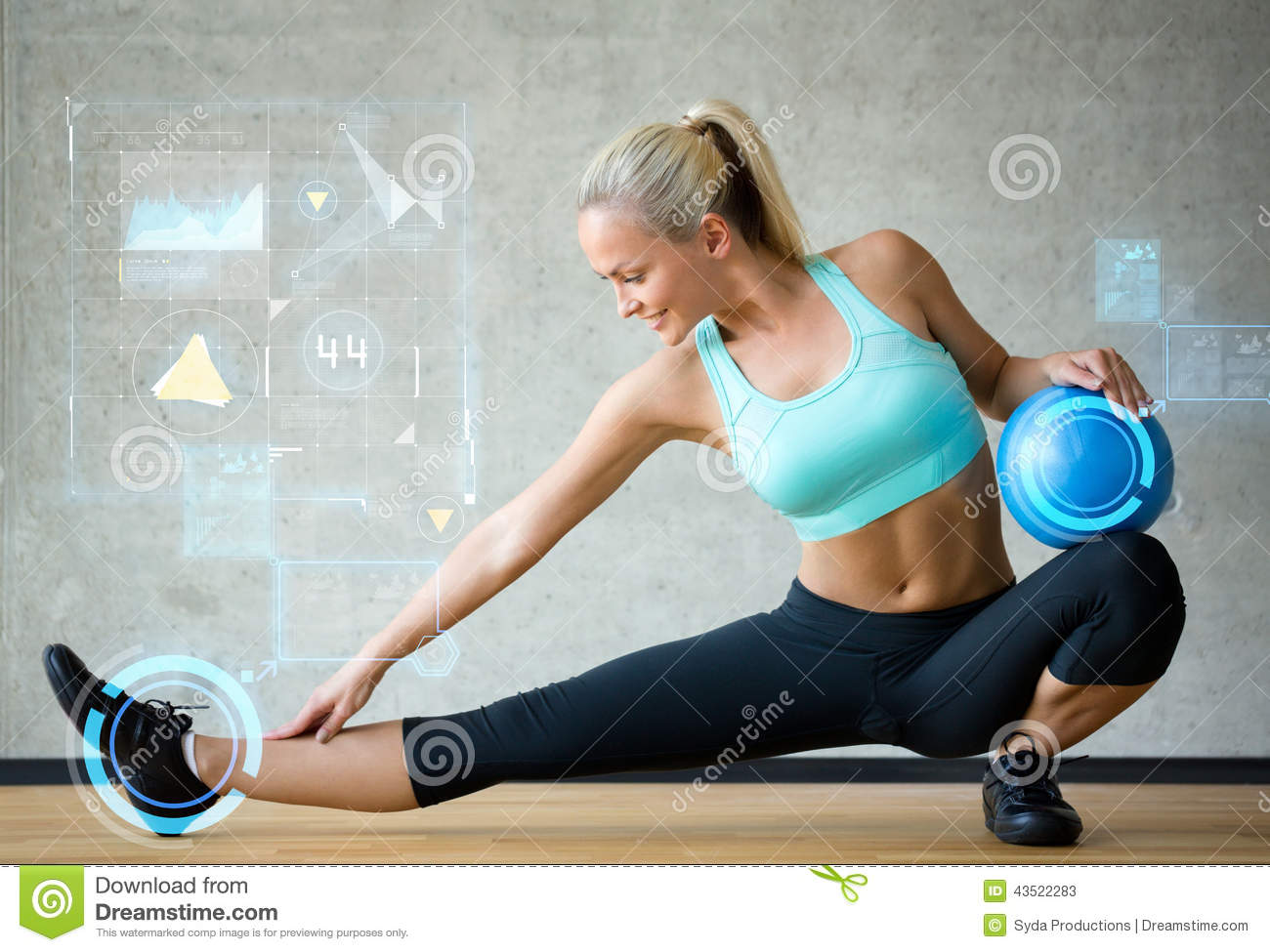Smiling Woman With Exercise Ball In Gym Stock Photo ...  Smiling Woman W...