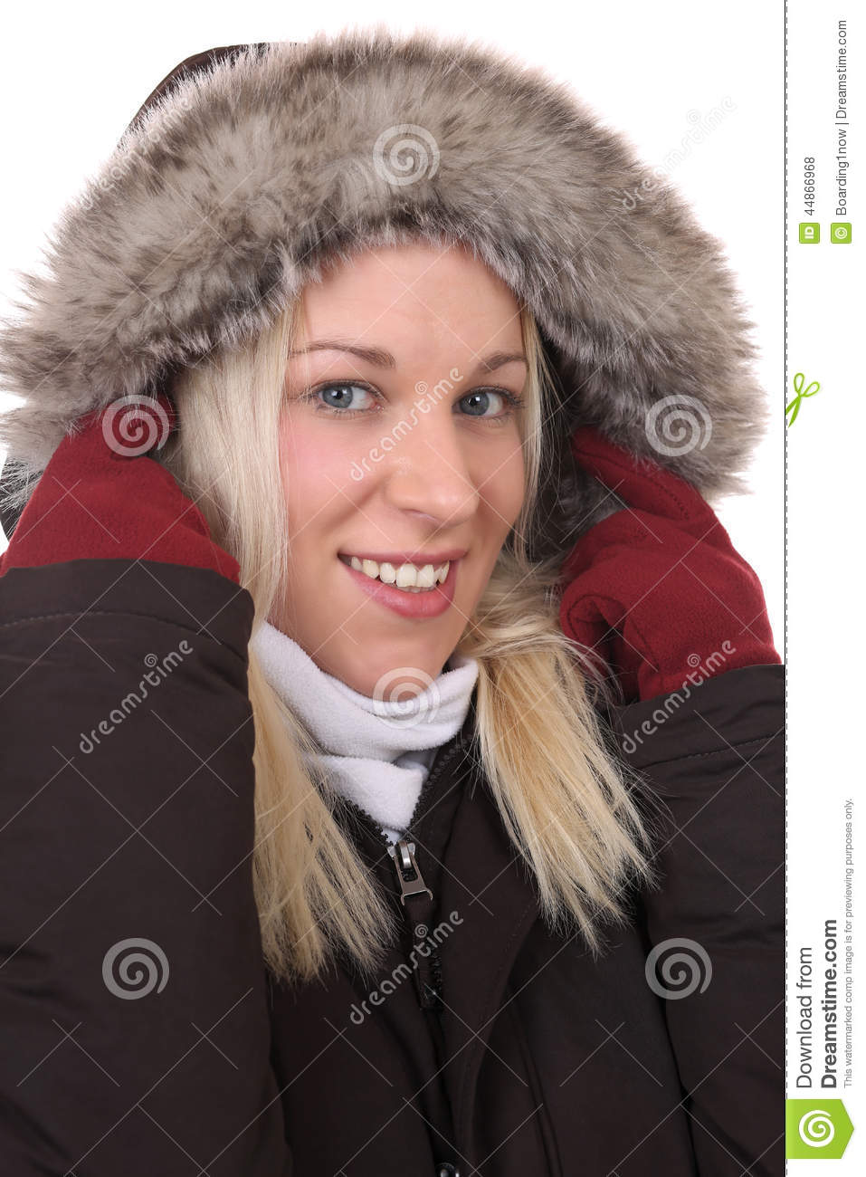 Freezing Cold Woman Smiling Woman Freezing...