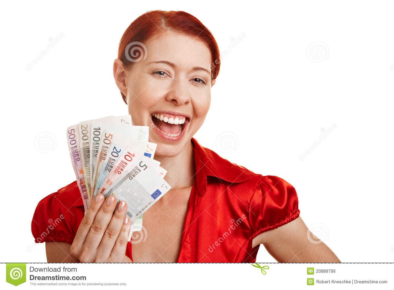 Smiling Woman Holding Euro Money Royalty Free Stock Images ...