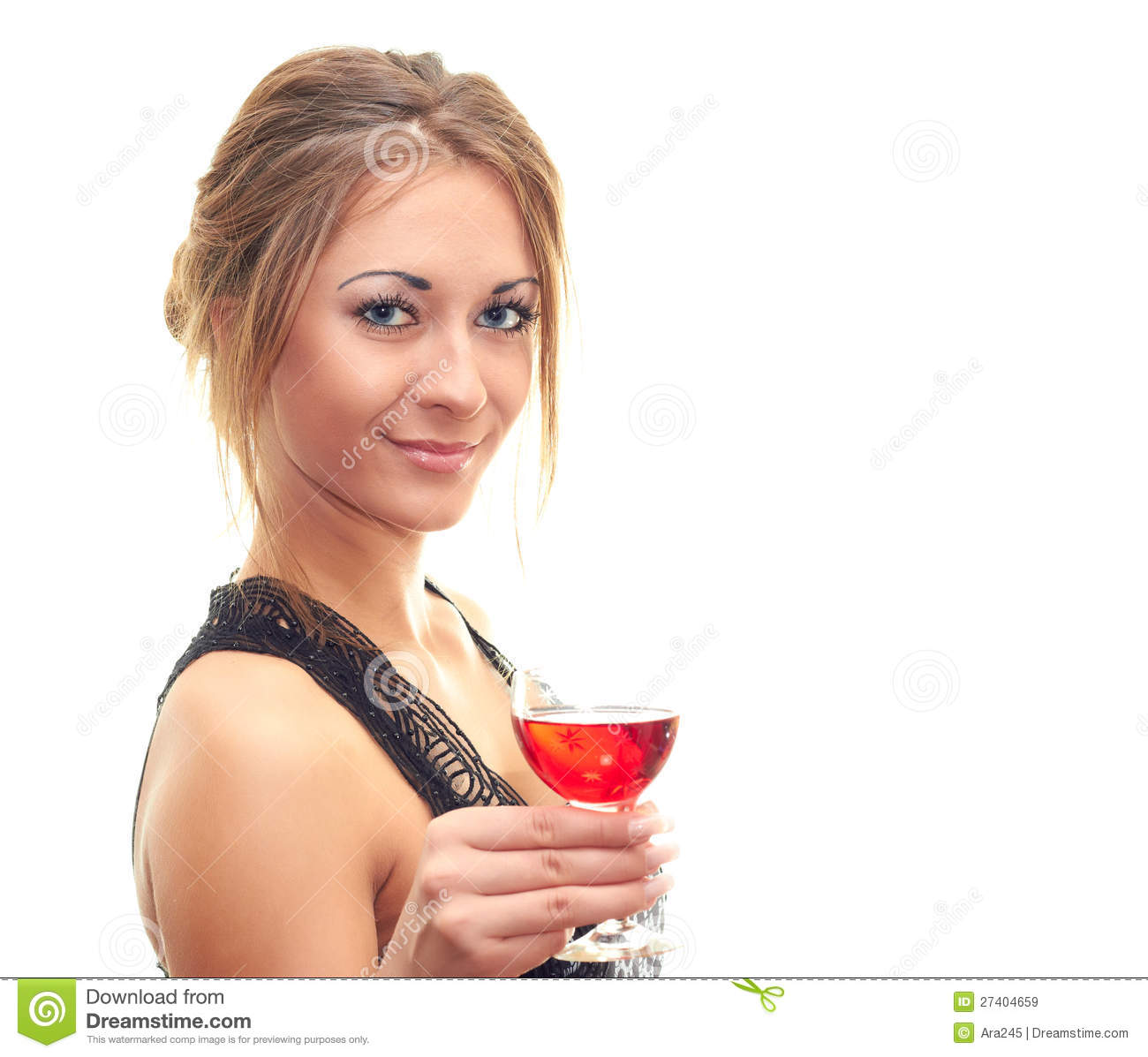 Smiling Woman Holding A Glass Of Wine Royalty Free Stock ...