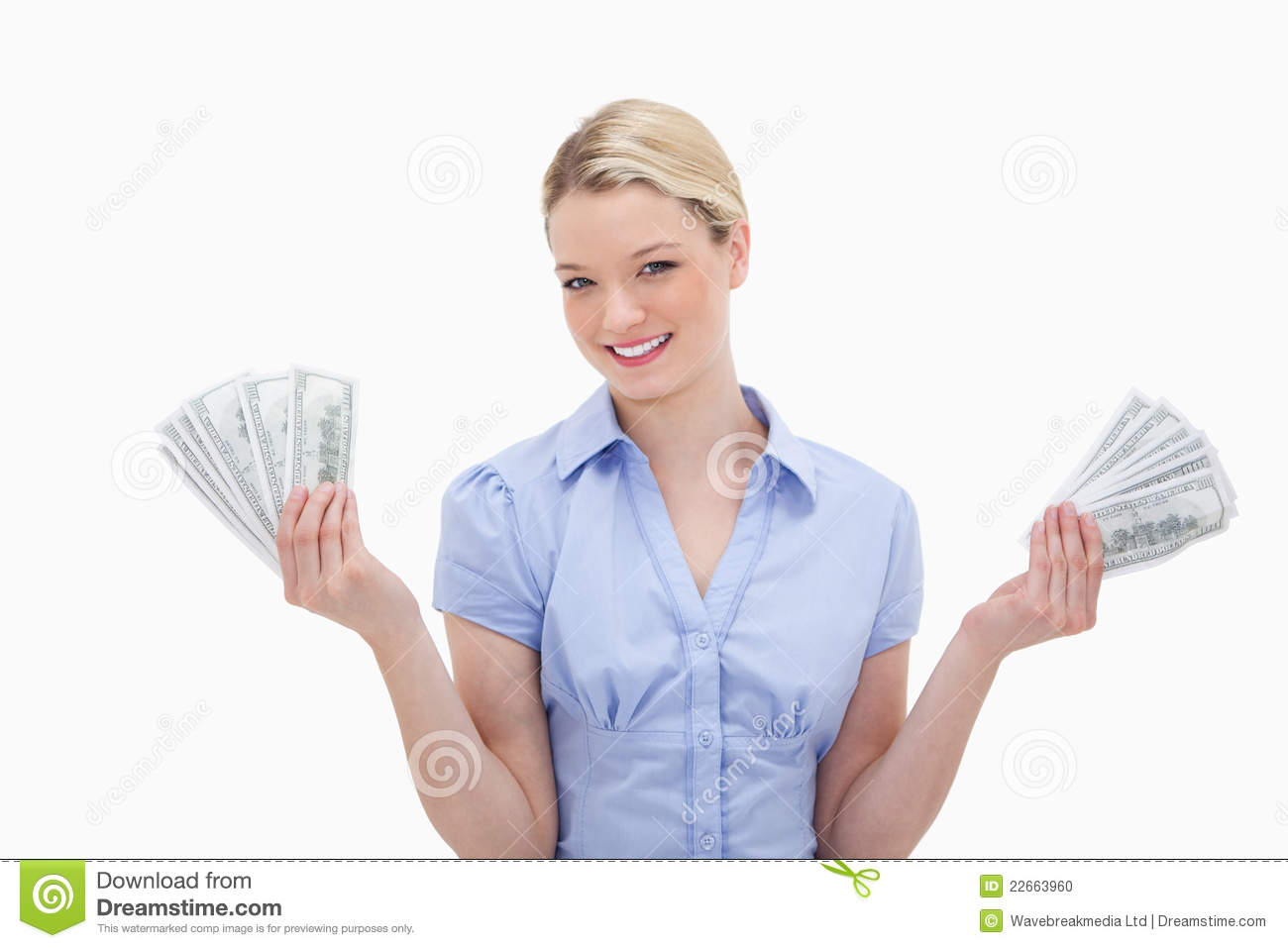 Smiling Woman Holding Money In Her Hands Stock Photo ...
