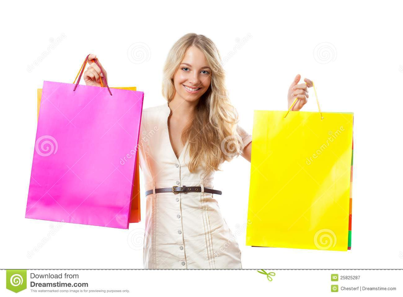 New Woman Holding Red Paper Shopping Bags Stock Photo - Image 60641027