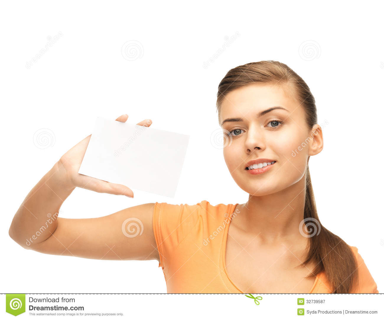 smiling woman holding white blank card stock image image of design