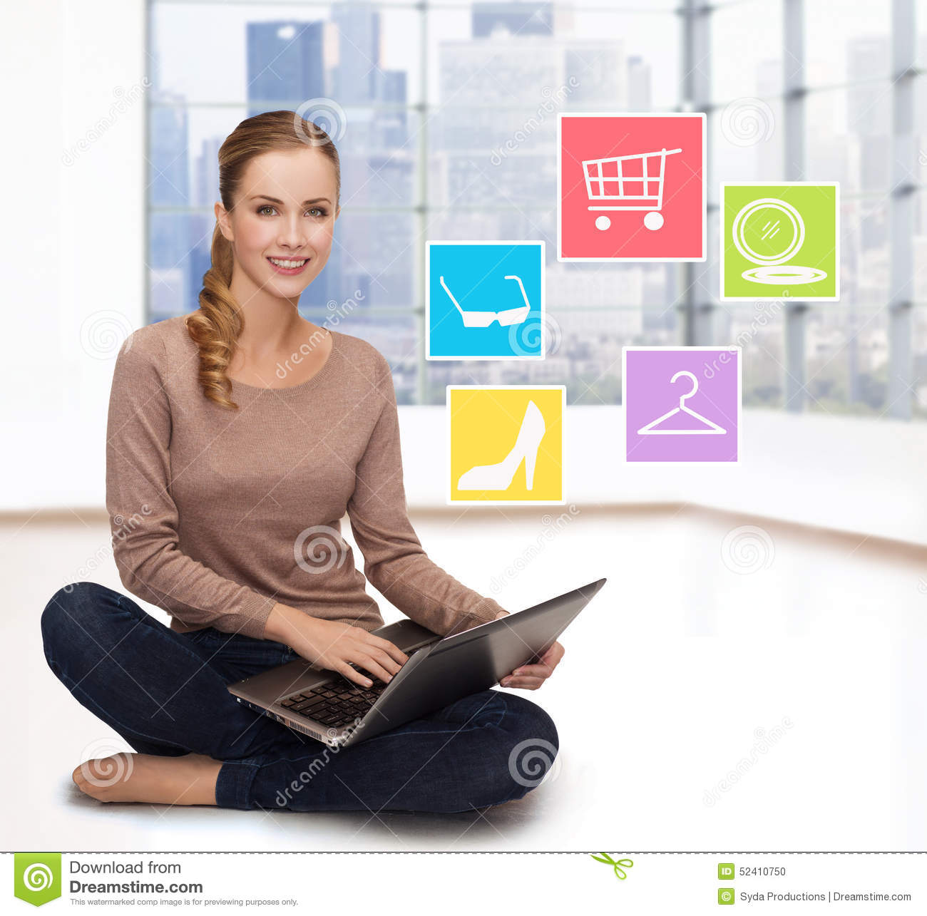 Fashion girl with laptop shopping online royalty free for Online shopping for the home