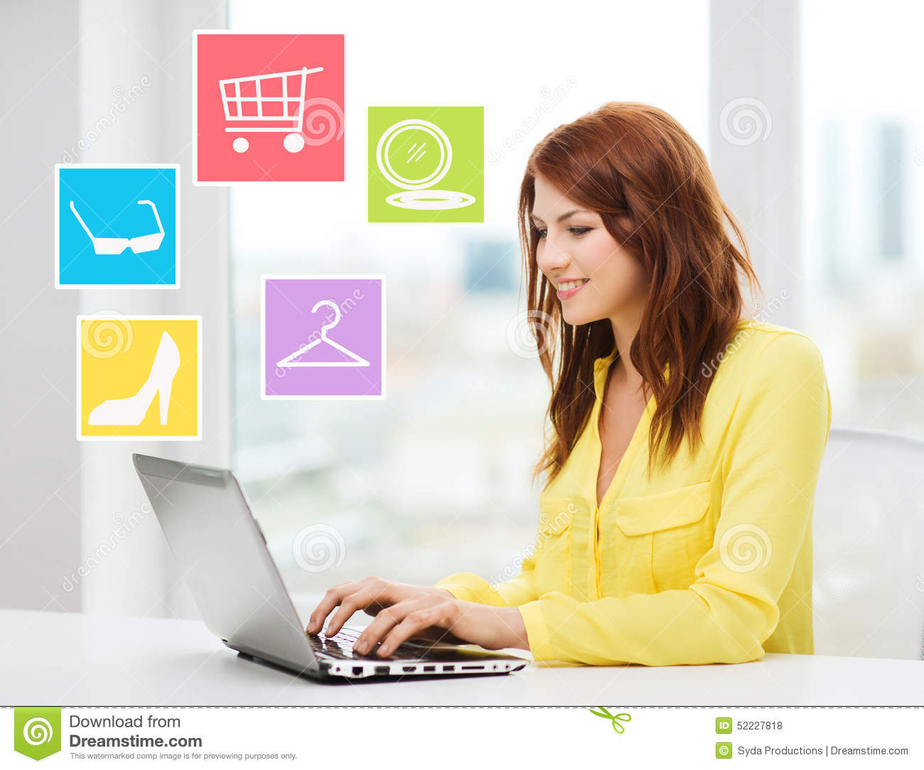 Smiling woman with laptop shopping online at home stock for Online shopping for the home