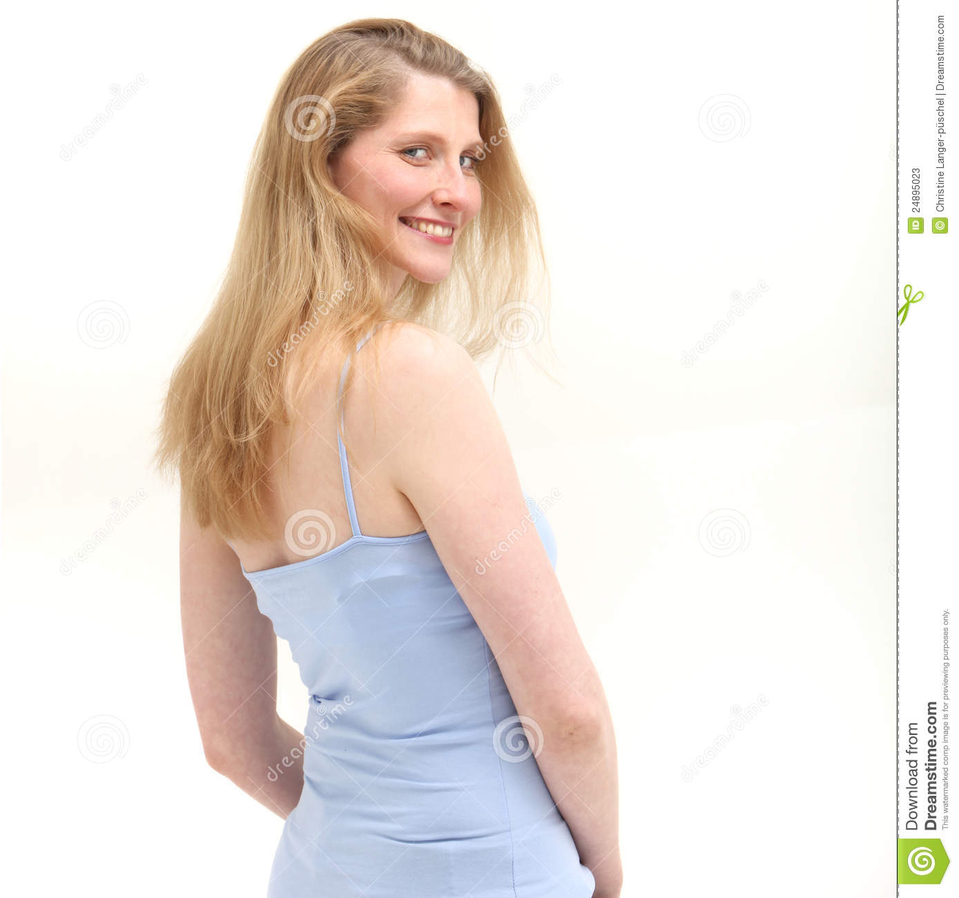Smiling Woman Looking Over Her Shoulder Stock Image ...