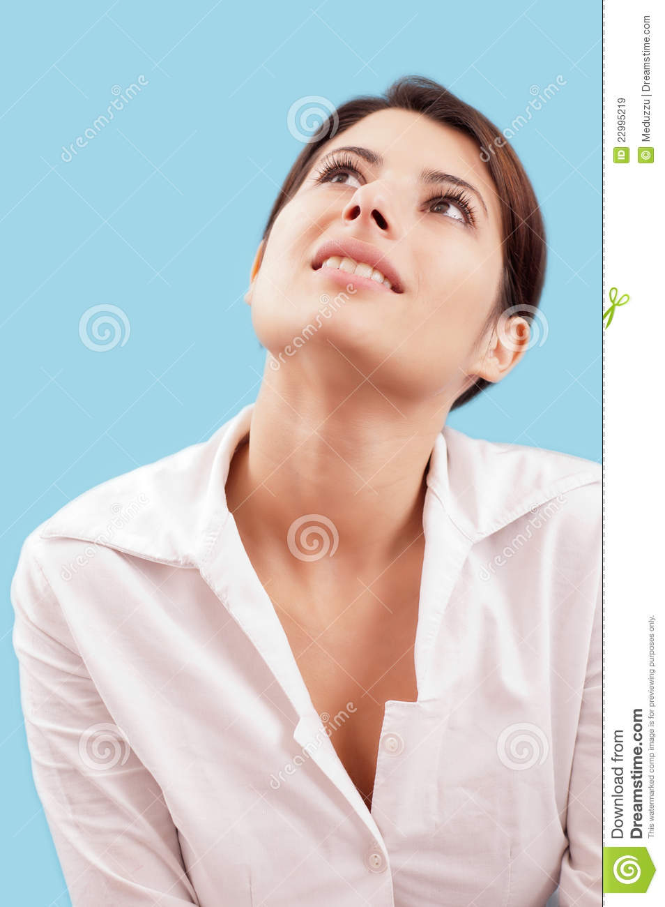 Smiling Woman Looking Up Royalty Free Stock Images - Image: 22995219
