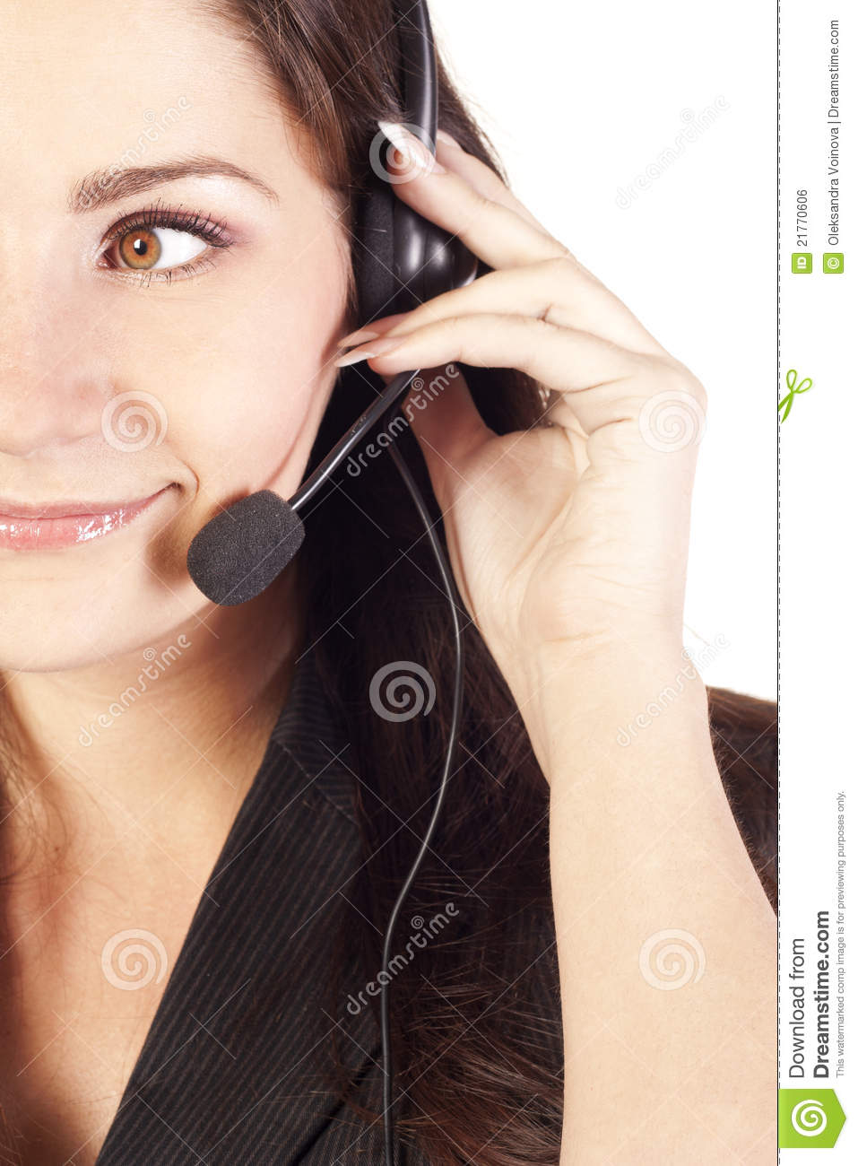 Smiling woman operator with headset