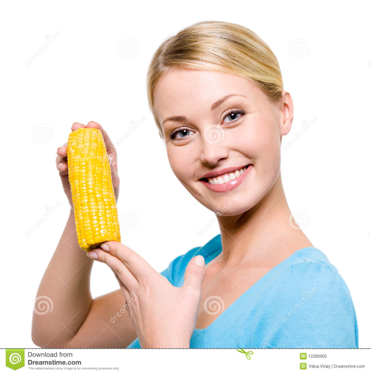 Smiling Woman With Raw Corn Stock Photo - Image: 12280900