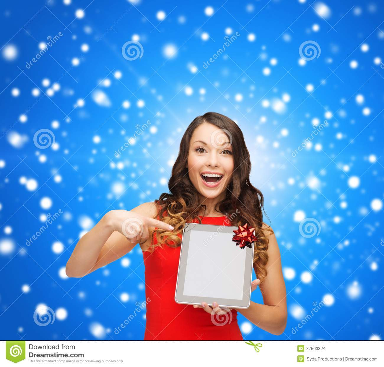 Concept smiling woman in red dress with blank screen tablet pc