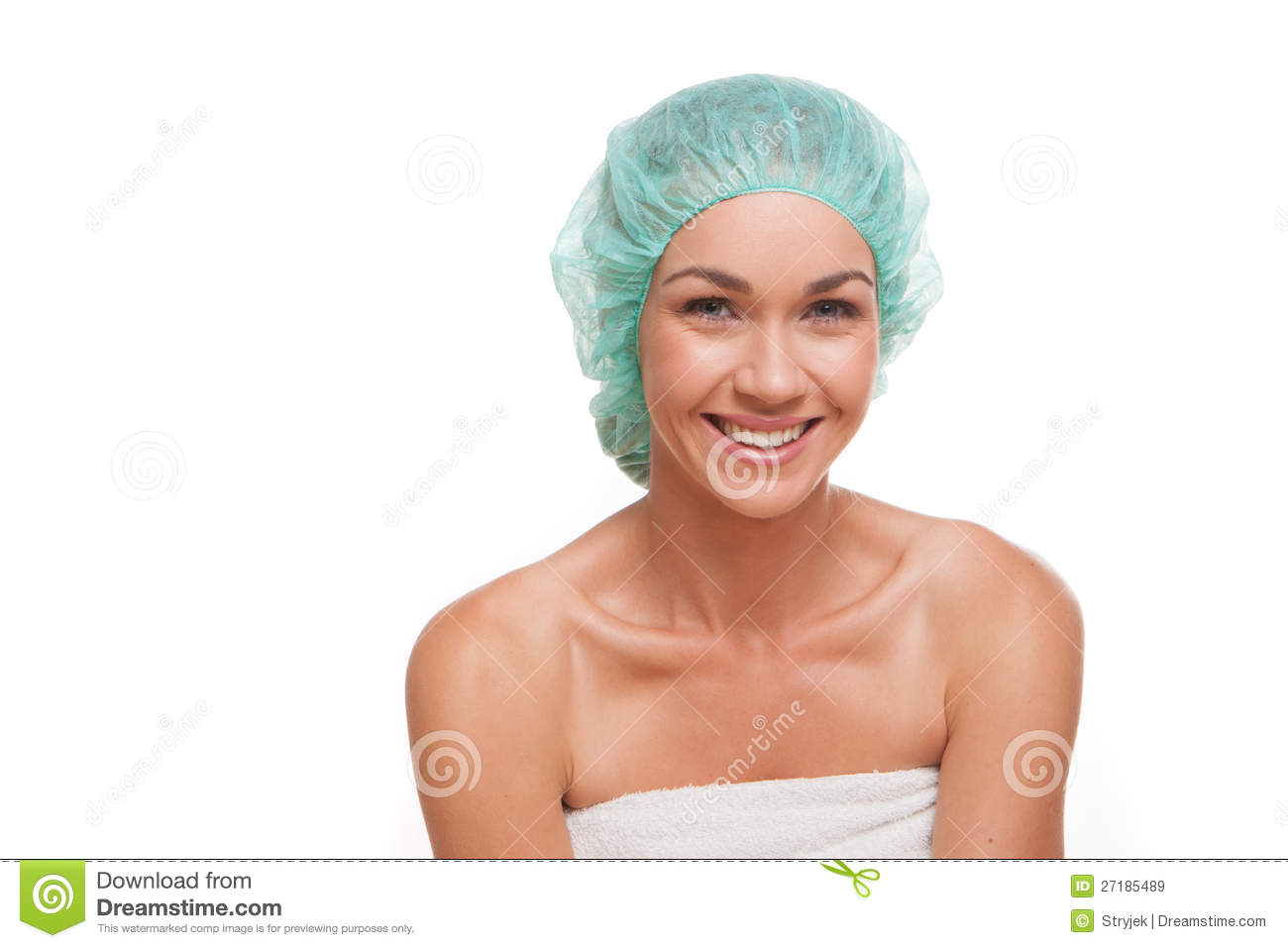 Smiling Woman In Shower Cap Royalty Free Stock Images