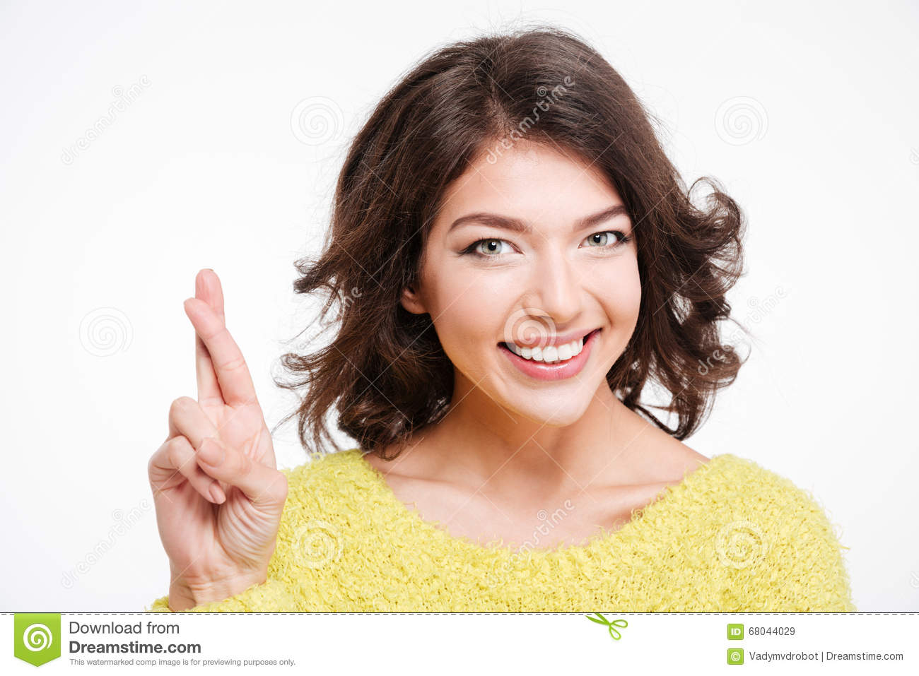 Smiling Woman Standing With Crossed Fingers Stock Image ...