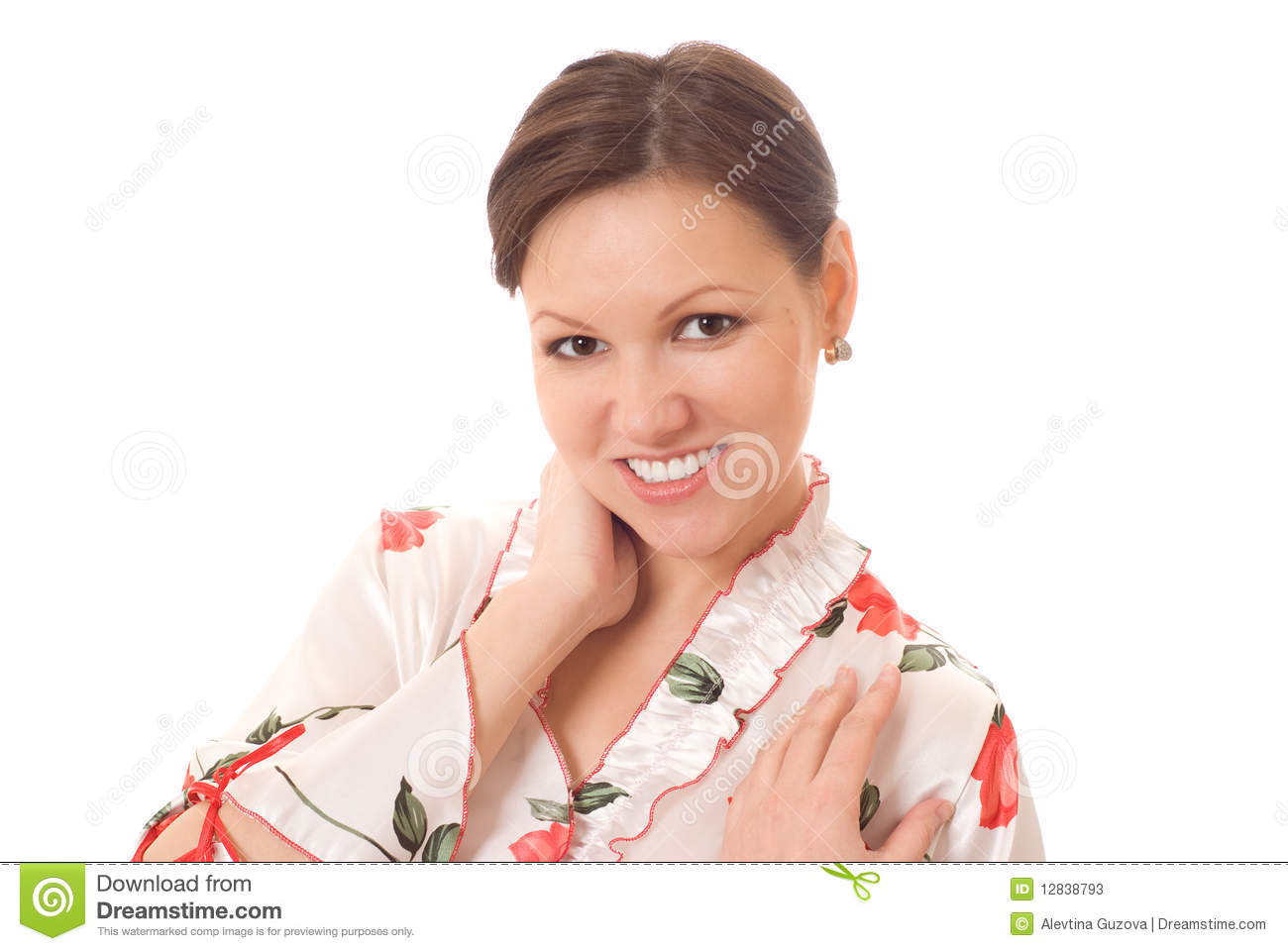 Smiling Woman Standing On A White Background Stock Photos ...