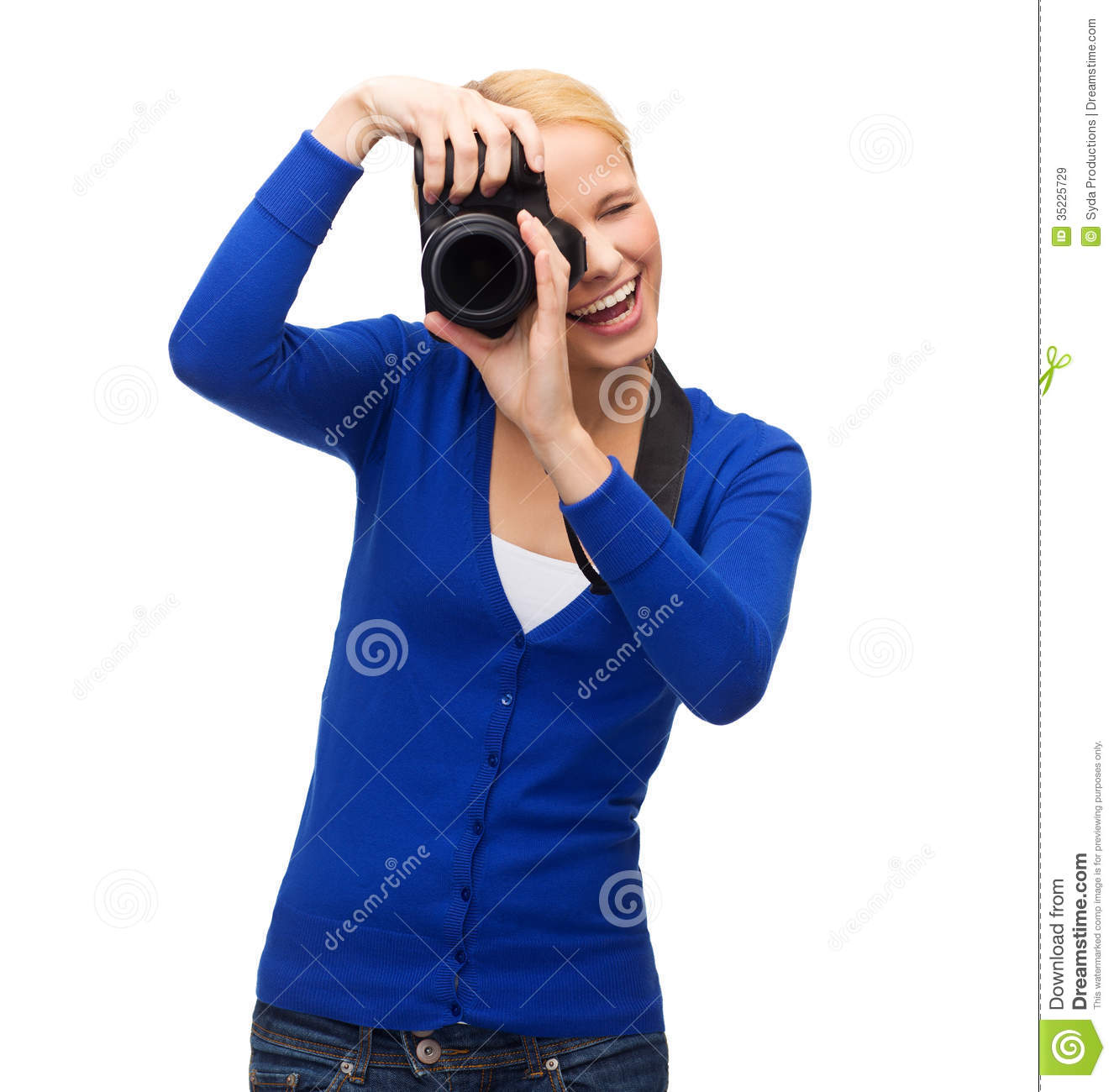 smiling-woman-taking-picture-digital-camera-modern-technology-people ...