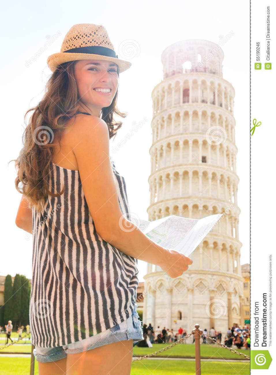 Smiling Woman Tourist Holding Map At Leaning Tower Of Pisa – Pisa Tourist Map