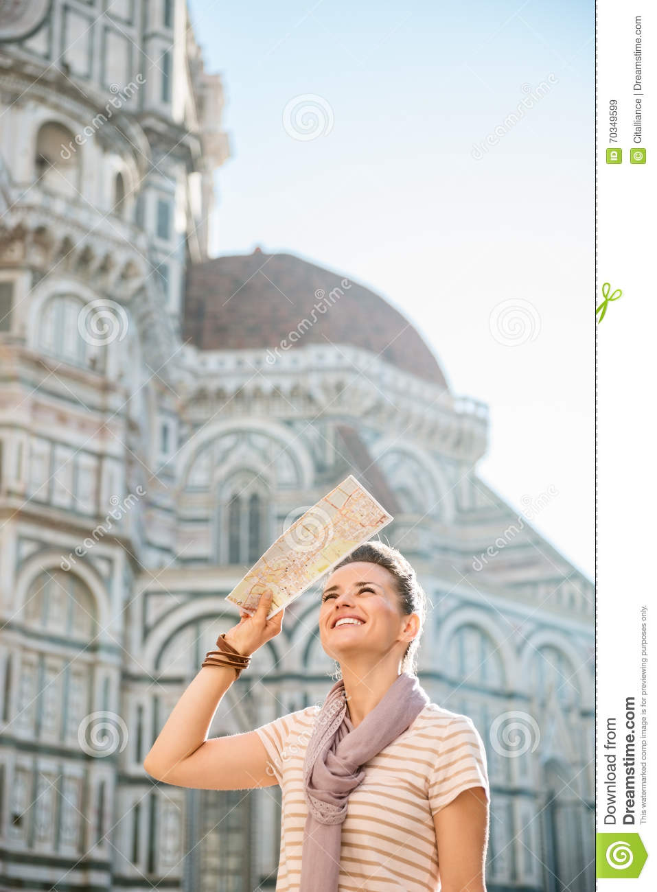 Smiling Woman Tourist With Map Sightseeing In Florence