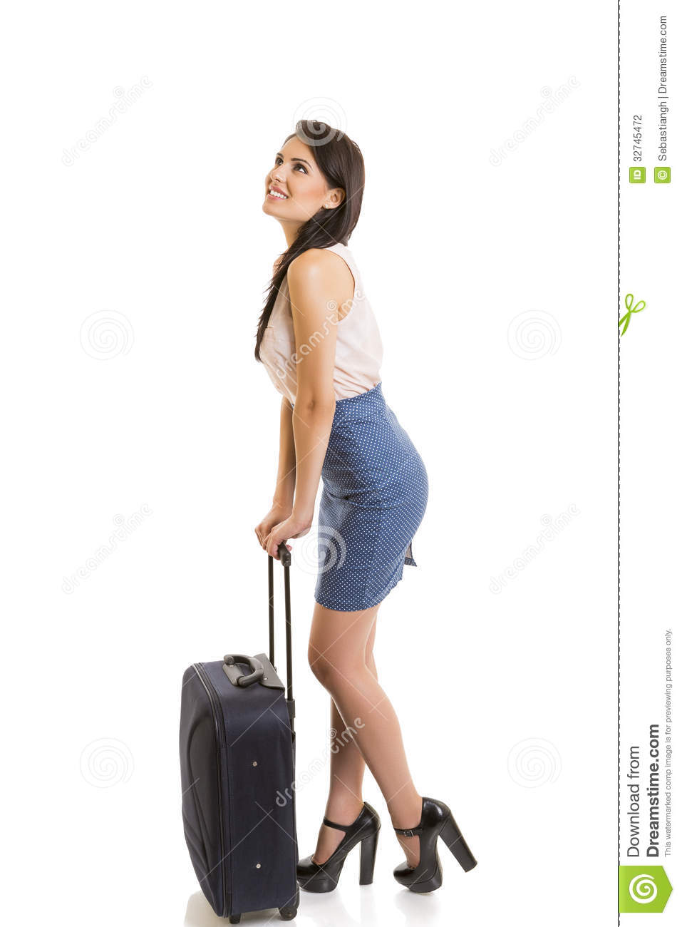 Smiling Woman With Travel Luggage Stock Photography - Image: 32745472