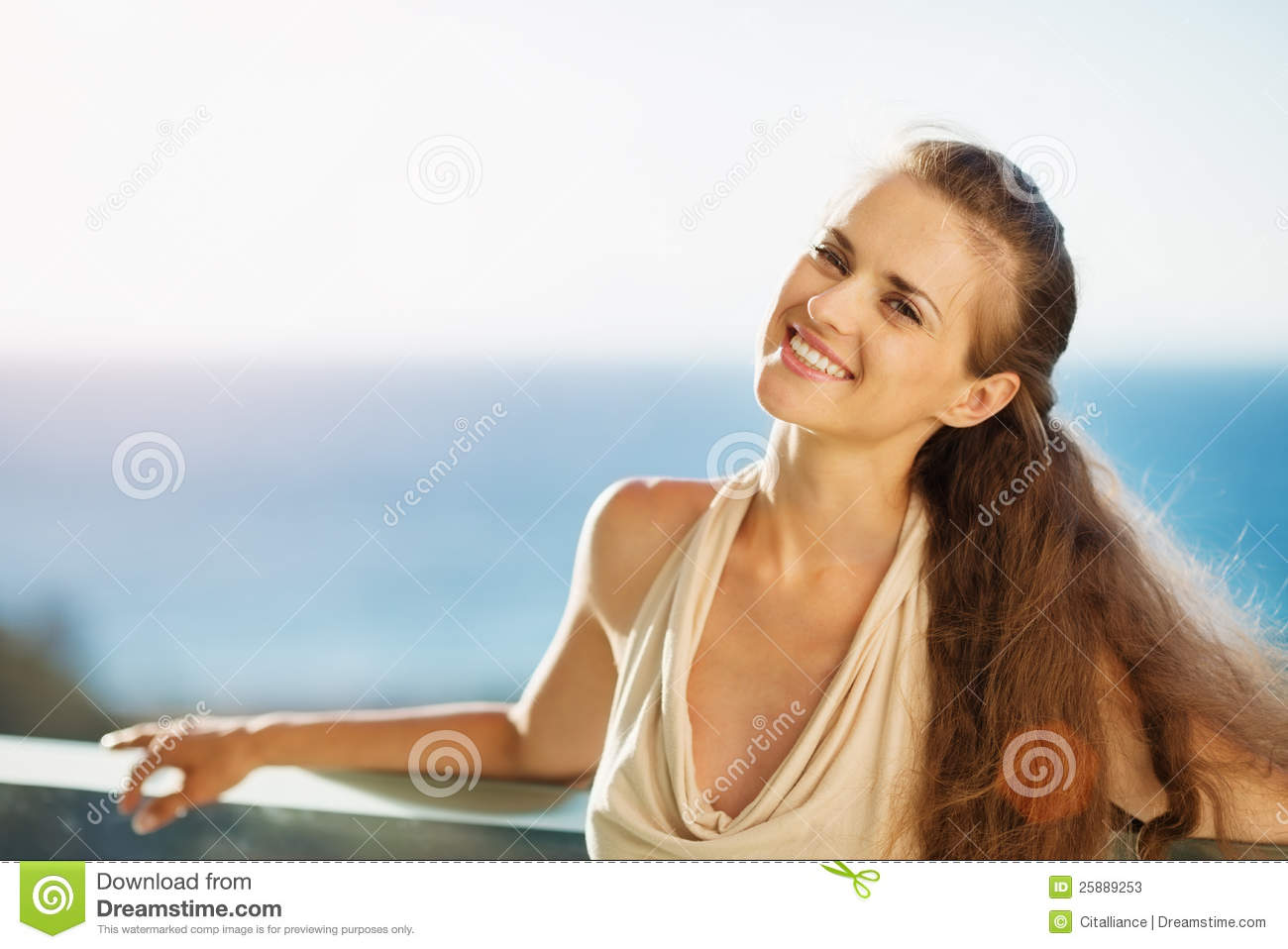Smiling Woman On Vacation Standing On Balcony Stock Photos ...