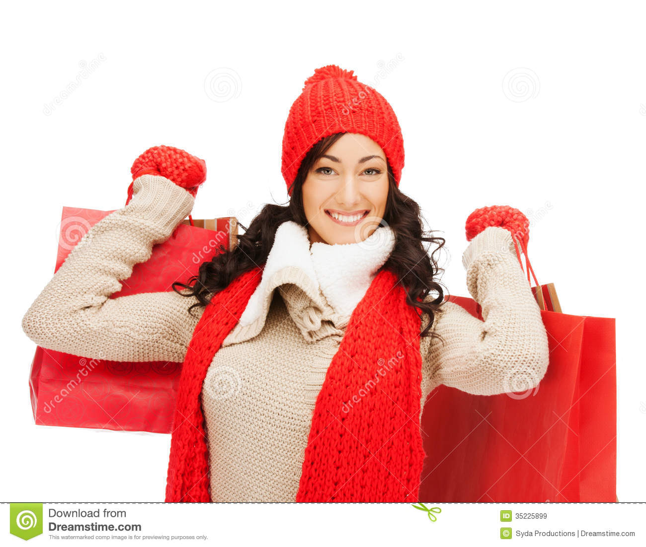 Smiling Woman In Warm Clothers With Shopping Bags Royalty ...