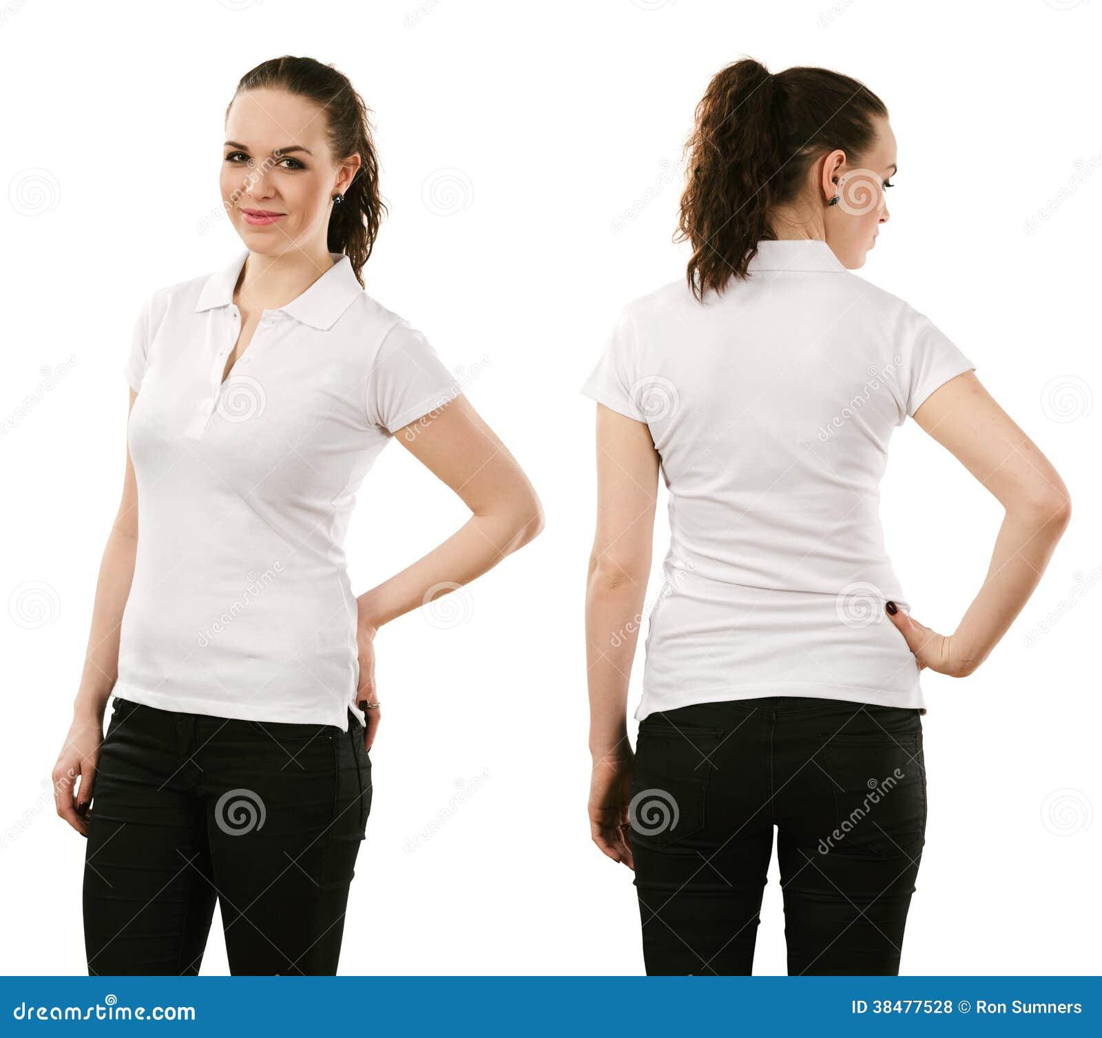 Smiling Woman Wearing Blank White Polo Shirt Royalty Free