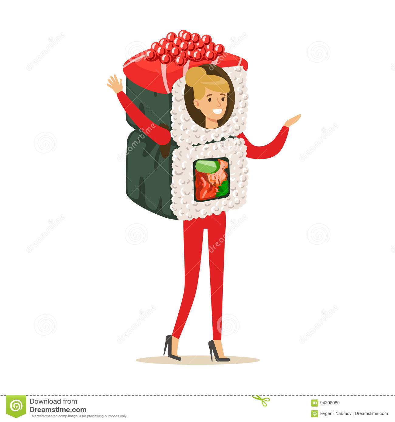 Smiling woman wearing sushi roll costume, vector Illustration