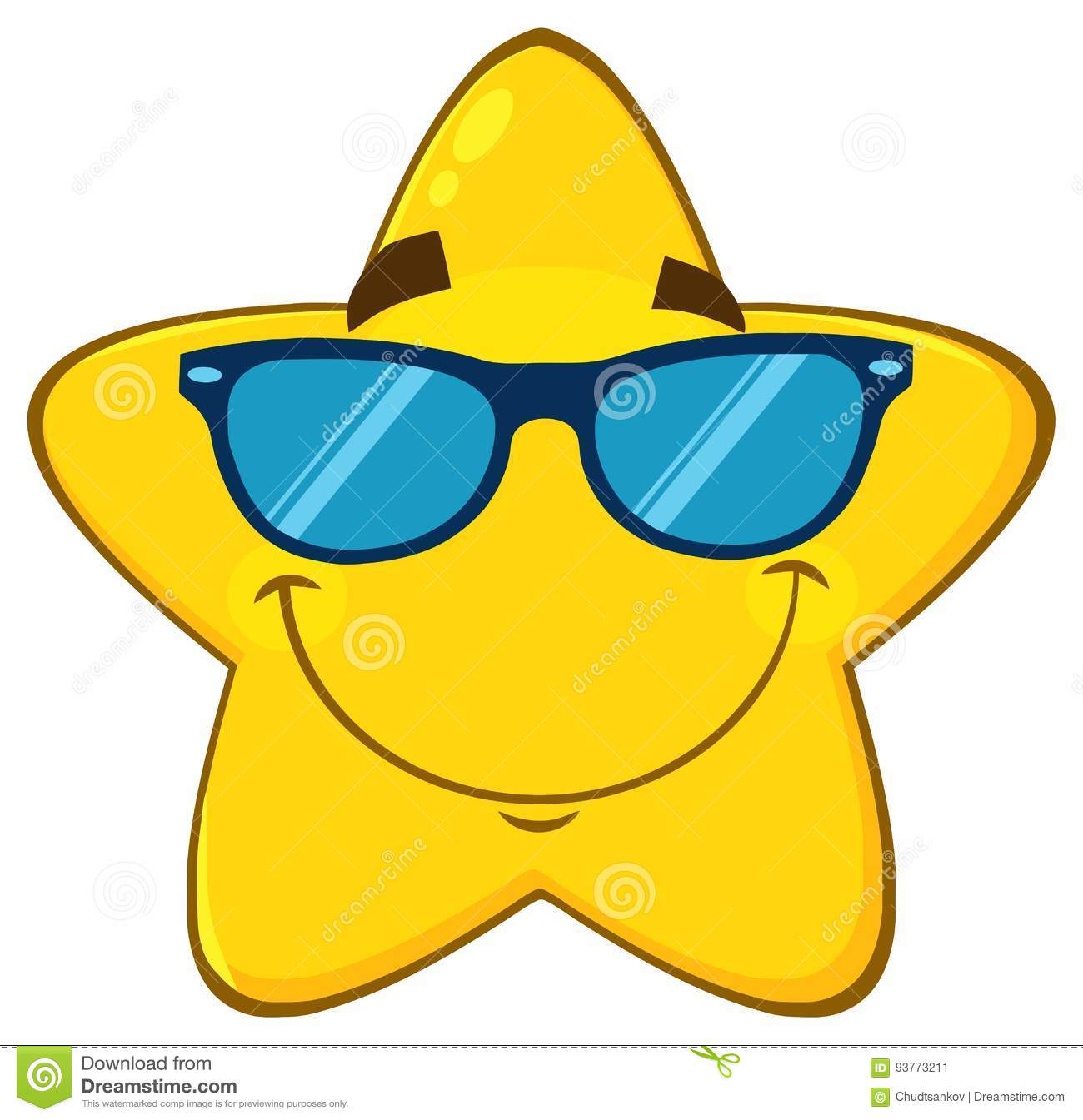 ef73b91f6970 Smiling Yellow Star Cartoon Emoji Face Character With Sunglasses ...