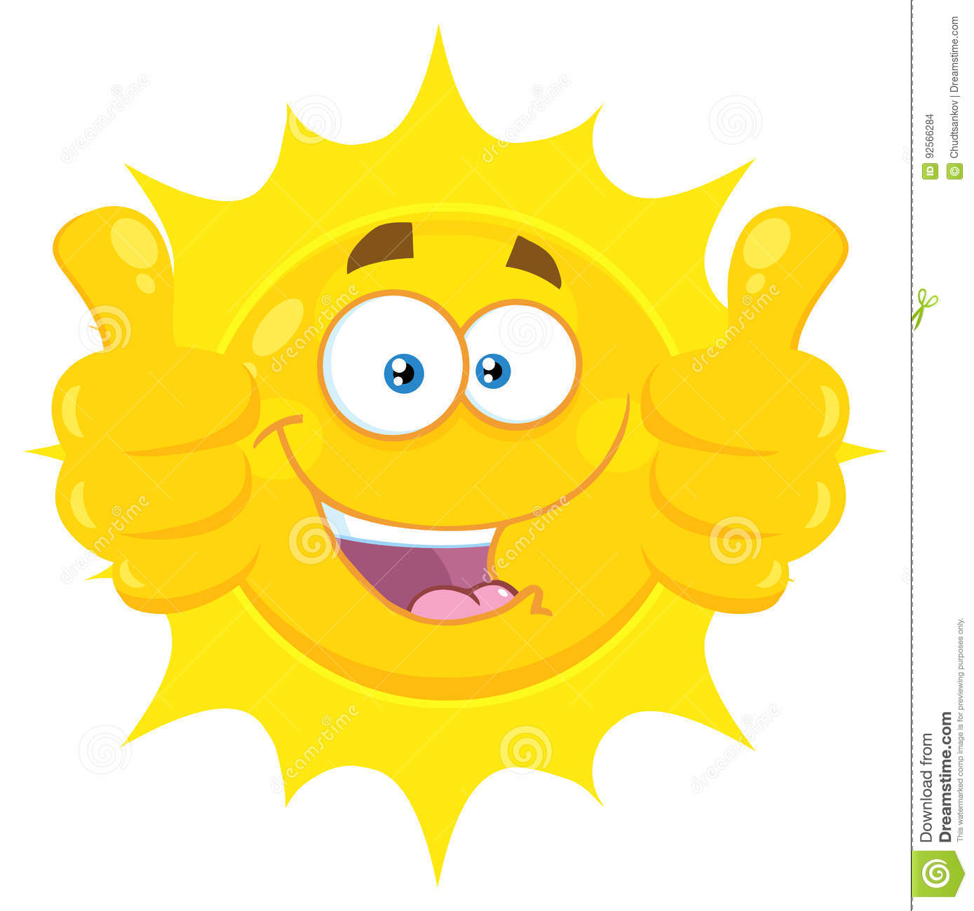 b975706c15b5 Smiling Yellow Sun Cartoon Emoji Face Character Giving Two Thumbs Up ...
