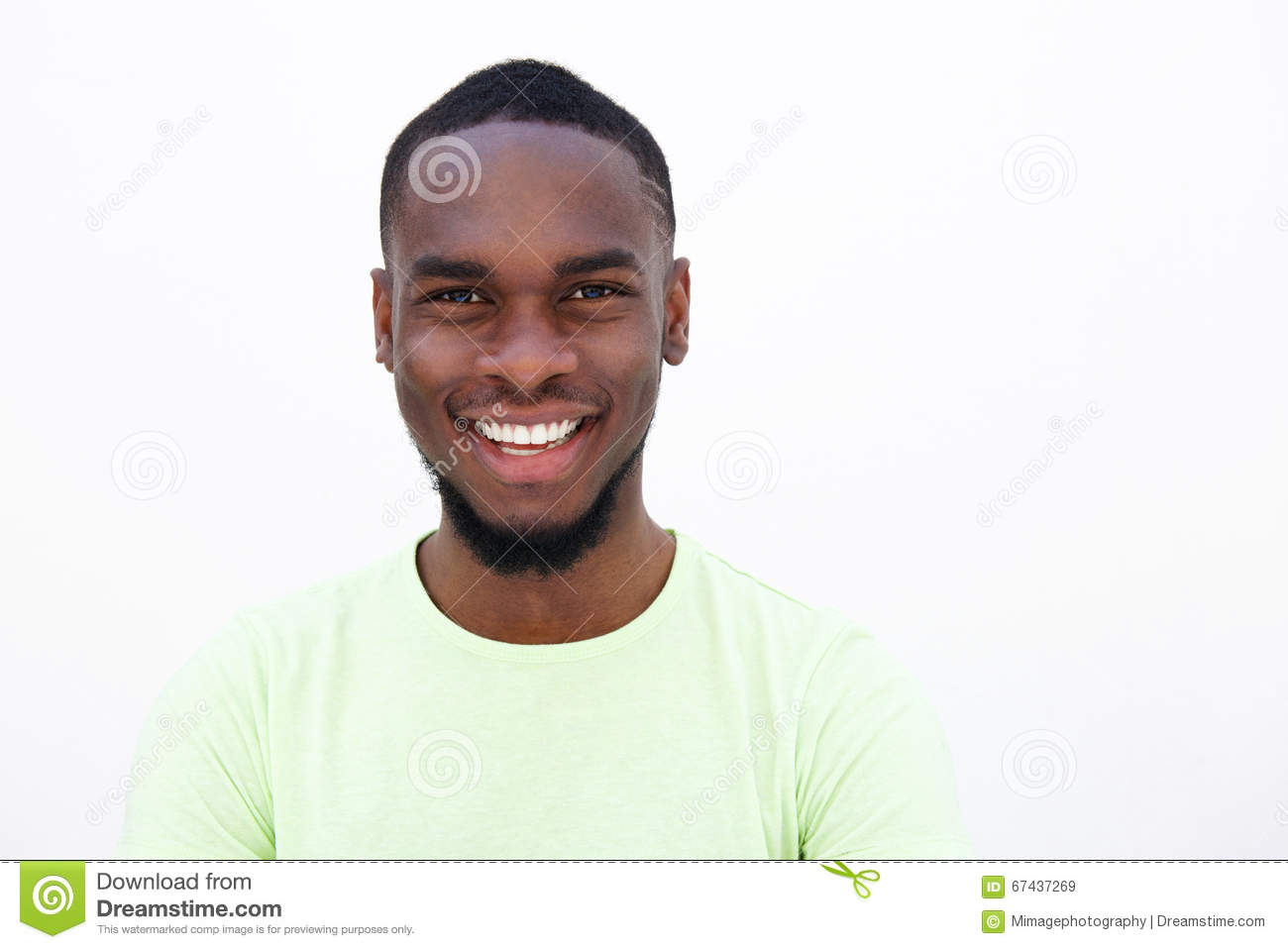 39056c0dd5c Close up portrait of a smiling young african american man against white  background
